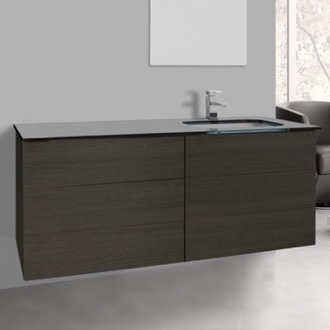 Bathroom Vanity 47 Inch Grey Oak Bathroom Vanity with Black Glass Top, Wall Mounted Iotti TN186