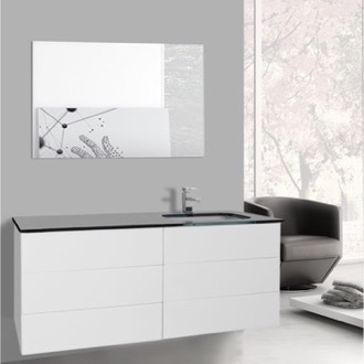 Bathroom Vanity 47 Inch Glossy White Bathroom Vanity with Black Glass Top, Wall Mounted, Mirror Included Iotti TN1708
