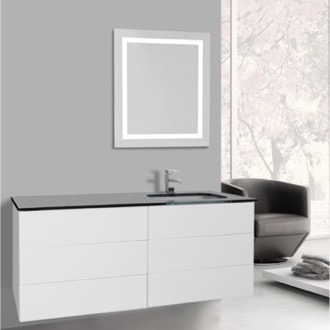 Bathroom Vanity 47 Inch Glossy White Bathroom Vanity, Wall Mounted, Lighted Mirror Included Iotti TN3133