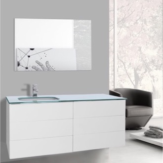 Bathroom Vanity 47 Inch Glossy White Bathroom Vanity with White Glass Top, Wall Mounted, Mirror Included Iotti TN1804