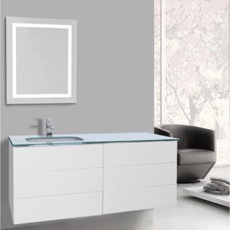 Bathroom Vanity 47 Inch Glossy White Bathroom Vanity, Wall Mounted, Lighted Mirror Included Iotti TN3157