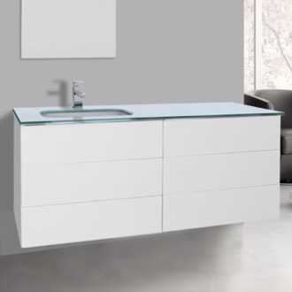 Bathroom Vanity 47 Inch Glossy White Bathroom Vanity with White Glass Top, Wall Mounted Iotti TN261