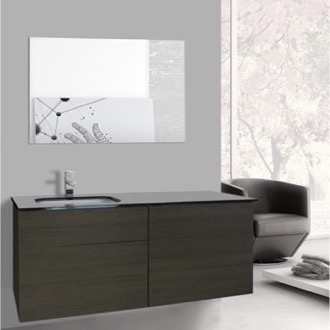 Bathroom Vanity 47 Inch Grey Oak Bathroom Vanity with Black Glass Top, Wall Mounted, Mirror Included Iotti TN1840