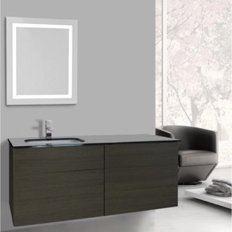 Bathroom Vanity 47 Inch Grey Oak Bathroom Vanity, Wall Mounted, Lighted Mirror Included Iotti TN3161
