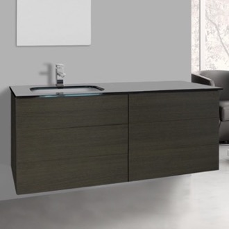 Bathroom Vanity 47 Inch Grey Oak Bathroom Vanity with Black Glass Top, Wall Mounted Iotti TN266