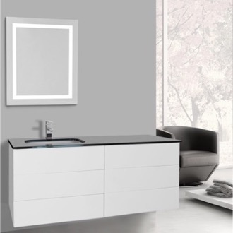 Bathroom Vanity 47 Inch Glossy White Bathroom Vanity, Wall Mounted, Lighted Mirror Included Iotti TN3163
