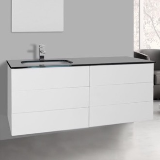 Bathroom Vanity 47 Inch Glossy White Bathroom Vanity with Black Glass Top, Wall Mounted Iotti TN262