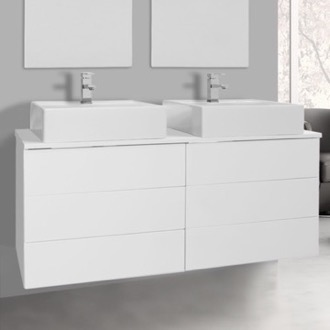 Bathroom Vanity 47 Inch Glossy White Double Vessel Sink Bathroom Vanity, Wall Mounted Iotti TN329