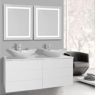 Bathroom Vanity 47 Inch Glossy White Bathroom Vanity, Wall Mounted, Lighted Mirror Included Iotti TN3169