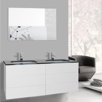 Bathroom Vanity 47 Inch Glossy White Double Vanity with Black Glass Top, Wall Mounted, Mirrors Included Iotti TN1931