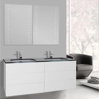 Bathroom Vanity 47 Inch Glossy White Double Vanity with Black Glass Top, Wall Mounted, Lighted Mirrors Included Iotti TN1929