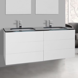 Bathroom Vanity 47 Inch Glossy White Double Vanity with Black Glass Top, Wall Mounted Iotti TN342