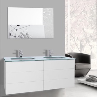 Bathroom Vanity 47 Inch Glossy White Double Vanity with White Glass Top, Wall Mounted, Mirror Included Iotti TN1911