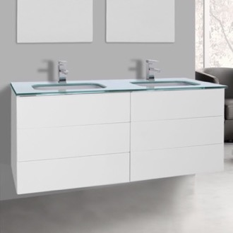Bathroom Vanity 47 Inch Glossy White Double Vanity with White Glass Top, Wall Mounted Iotti TN341
