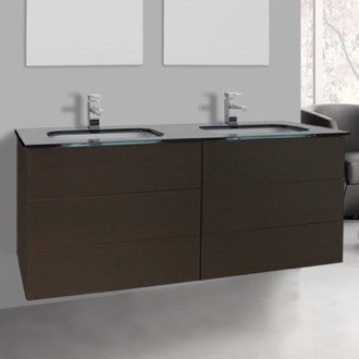 Bathroom Vanity 47 Inch Wenge Double Vanity with Black Glass Top, Wall Mounted Iotti TN344