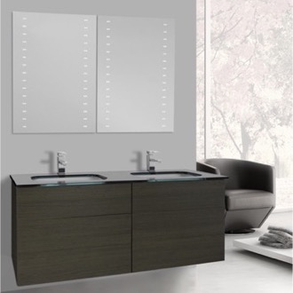 Bathroom Vanity 47 Inch Grey Oak Double Vanity with Black Glass Top, Wall Mounted, Lighted Mirrors Included Iotti TN1939