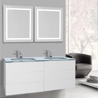 Bathroom Vanity 47 Inch Glossy White Bathroom Vanity, Wall Mounted, Lighted Mirror Included Iotti TN3187