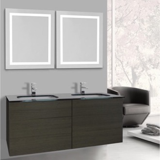Bathroom Vanity 47 Inch Grey Oak Bathroom Vanity, Wall Mounted, Lighted Mirror Included Iotti TN3191