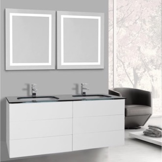 Bathroom Vanity 47 Inch Glossy White Bathroom Vanity, Wall Mounted, Lighted Mirror Included Iotti TN3193