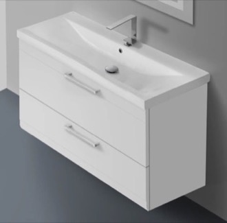 38 Inch Glossy White Wall Mounted Vanity with Fitted Sink Iotti LN29