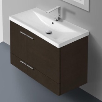 32 Inch Wenge Wall Mounted Vanity with Ceramic Sink Iotti NS16