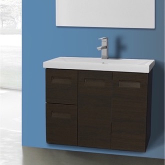 2 Doors, 2 Drawer Vanity Cabinet with Self Rimming Sink Iotti NG2C-Wenge