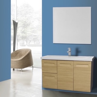 Bathroom Vanity 38 Inch Wall Mounted Natural Oak Vanity with Inset Handles, Mirror Included Iotti IN156