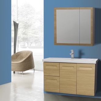 Bathroom Vanity 38 Inch Wall Mounted Natural Oak Vanity with Inset Handles, Medicine Cabinet Included Iotti IN48