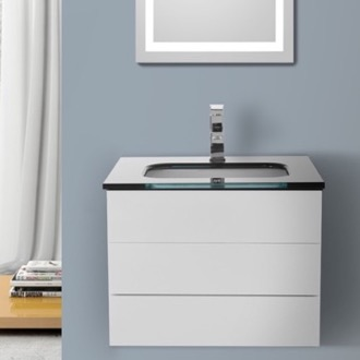 Bathroom Vanity 24 Inch Glossy White Bathroom Vanity with Black Glass Top, Wall Mounted Iotti TN22