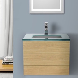 Bathroom Vanity 24 Inch Natural Oak Bathroom Vanity with White Glass Top, Wall Mounted Iotti TN27