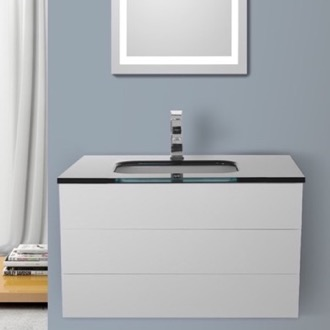 Bathroom Vanity 32 Inch Glossy White Bathroom Vanity with Black Glass Top, Wall Mounted Iotti TN102