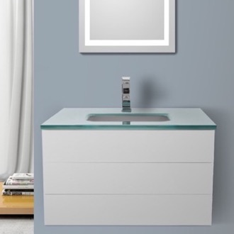 Bathroom Vanity 32 Inch Glossy White Bathroom Vanity with White Glass Top, Wall Mounted Iotti TN101