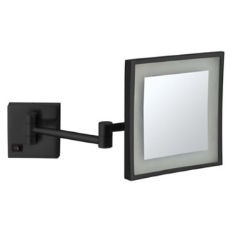 Matte Black Square Wall Mounted LED 5x Magnifying Mirror, Hardwired Nameeks AR7701-BLK-5x