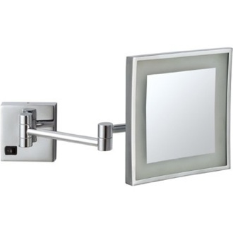 Square Wall Mounted LED 5x Magnifying Mirror, Hardwired Nameeks AR7701-CR-5x