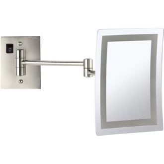 Makeup Mirror Satin Nickel Wall Mounted Square LED 3x Makeup Mirror, Hardwired Nameeks AR7702-SNI-3x