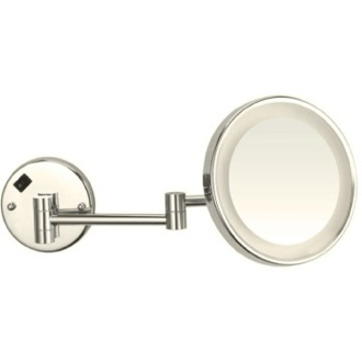 Satin Nickel Round Wall Mounted 3x Magnifying Mirror with LED, Hardwired Nameeks AR7703-SNI-3x