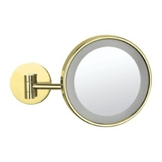 Makeup Mirror Gold Wall Mounted Single Face 3x Makeup Mirror with LED AR7704-O-3x Nameeks AR7704-O-3x