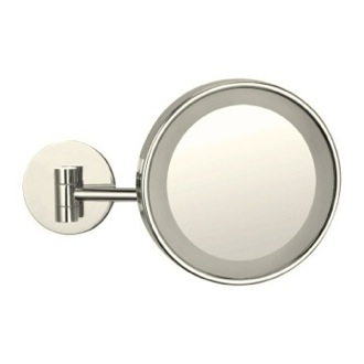 Makeup Mirror Satin Nickel Wall Mounted Single Face 3x Makeup Mirror with LED AR7704-SNI-3x Nameeks AR7704-SNI-3x