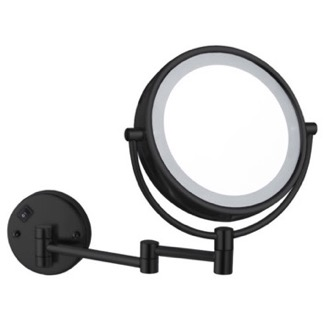 Matte Black Double Face LED 7x Magnifying Mirror, Hardwired Nameeks AR7705-BLK-7x