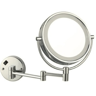 Satin Nickel Double Face Round LED 3x Magnifying Mirror, Hardwired Nameeks AR7705-SNI-3x