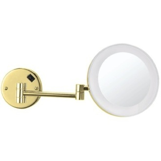 Makeup Mirror Gold Round Wall Mounted 3x Makeup Mirror with LED AR7706-O-3x Nameeks AR7706-O-3x