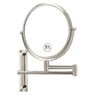 Satin Nickel Round Wall Mounted Double Face 3x Shaving Mirror Nameeks AR7708-SNI-3x