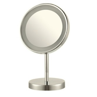 Makeup Mirror Satin Nickel Round Free Standing 3x LED Makeup Mirror AR7711-SNI-3x Nameeks AR7711-SNI-3x