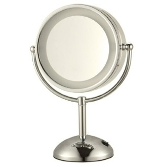 Makeup Mirror Satin Nickel Double Face Round 3x Makeup Mirror AR7713-SNI Nameeks AR7713-SNI