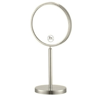 Satin Nickel Double Sided Free Standing 3x Makeup Mirror Nameeks AR7716-SNI-3x