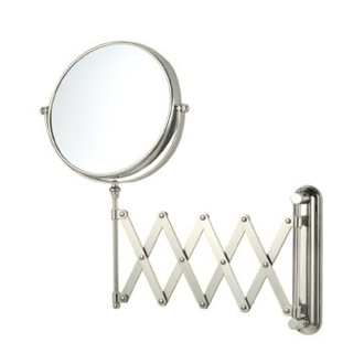 Satin Nickel Double Sided Adjustable Arm 3x Shaving Mirror Nameeks AR7720-SNI-3x