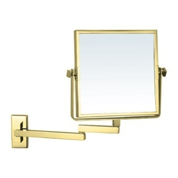 Makeup Mirror Gold Square Wall Mounted Double Face 3x Makeup Mirror AR7722-O-3x Nameeks AR7722-O-3x