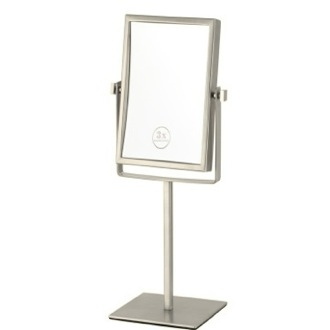 Satin Nickel Double Face Rectangular 3x Makeup Mirror Nameeks AR7726-SNI-3x