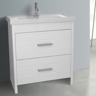31 Inch Floor Standing White Vanity Cabinet With Fitted Sink Nameeks LOT-F01