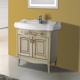 Bathroom Vanity 31 Inch Floor Standing Vanilla Vanity Cabinet With Fitted Sink Nameeks MI-F01